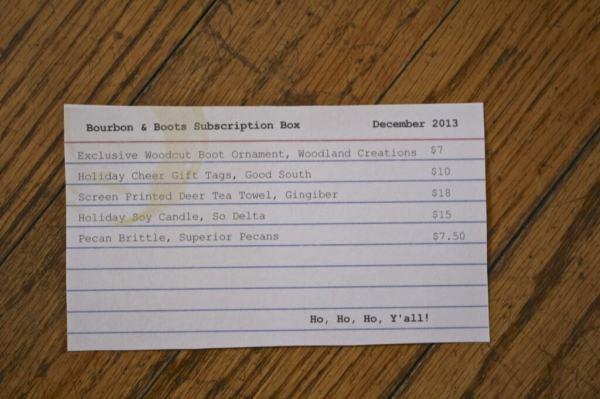Bourbon & Boots December Box - Info Card