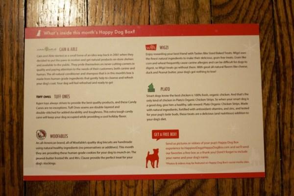 Happy Dog Box Info Card