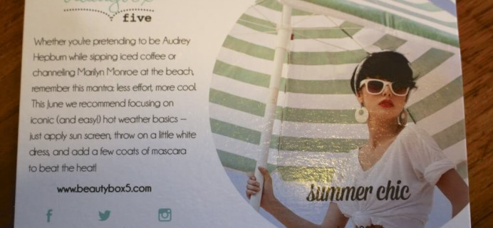 Beauty Box 5 Free Box Code & Mini Review – June 2014