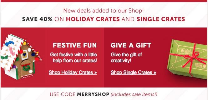 Kiwi Crate Cyber Monday Shop Coupon + Deals