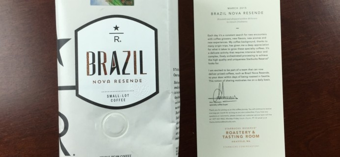 Starbucks Reserve Coffee Subscription Box Review – March 2015