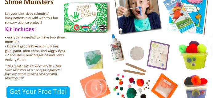 Green Kid Crafts Free Slime Monsters STEM Science Kit!
