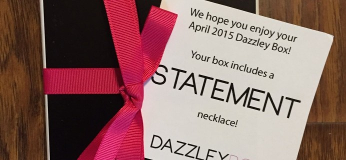 Dazzley Box Review – April 2015 Statement Necklace Subscription Box