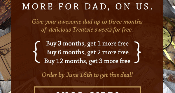 Treatsie Father's Day Deal – Up to 3 Free Boxes!