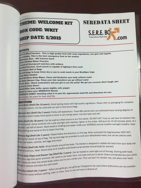 sere box welcome kit review june 2015 data sheet