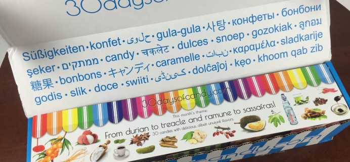 """30 Days of Candy Subscription Box Review + Coupon – July 2015 """"From Durian to Treacle"""""""