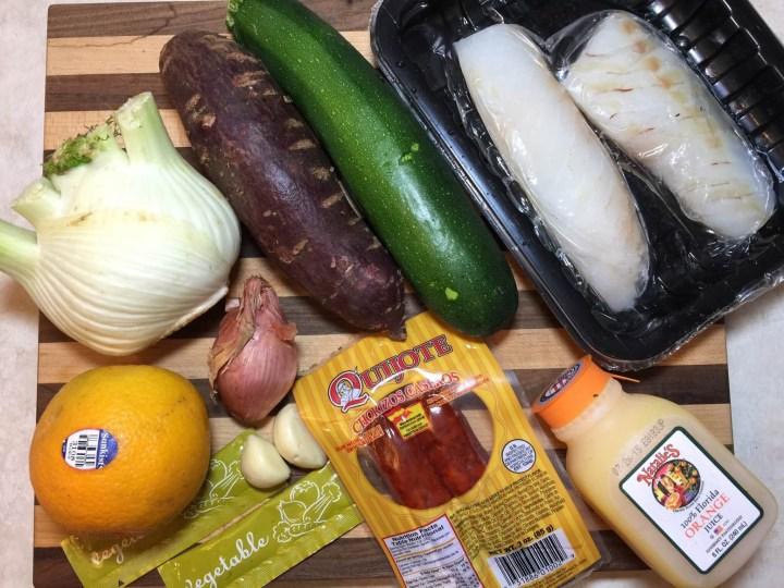 Poached Cod in Chorizo-Fennel Broth with Orange, Zucchini, and Purple Sweet Potato Crisps ingredients