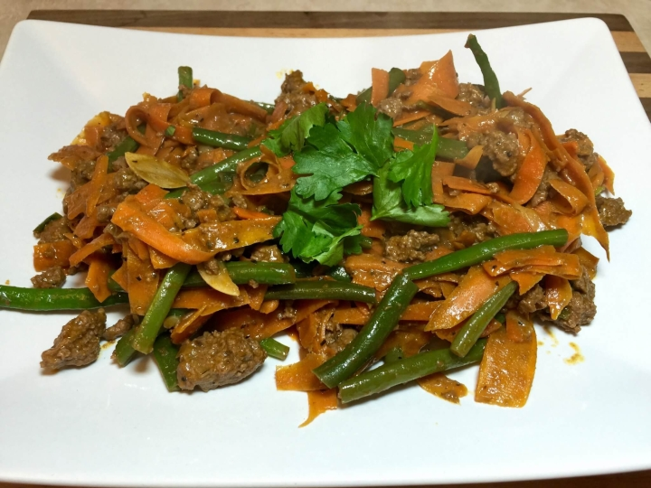 Thai Beef with Carrot Noodles and Sriracha Peanut Sauce