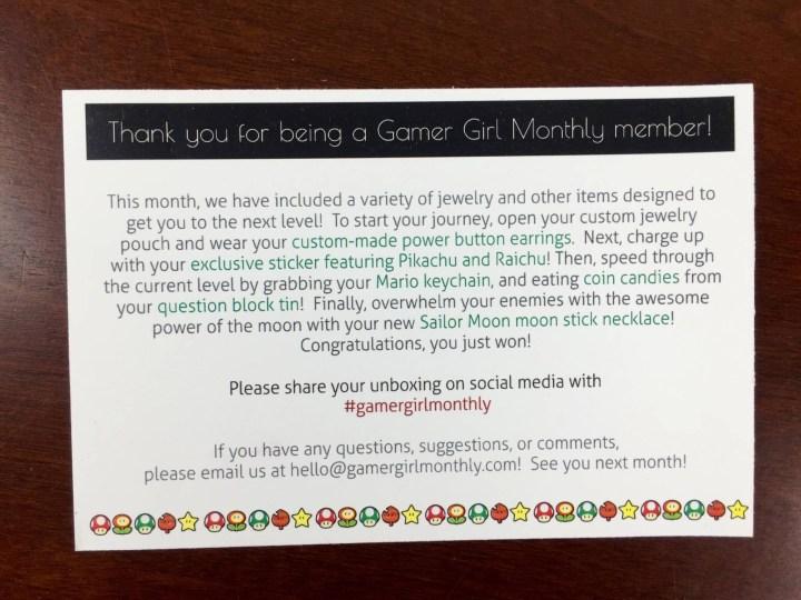 gamer girl monthly july 2015 information card