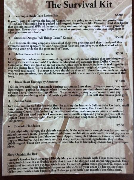 my texas market august 2015 information card
