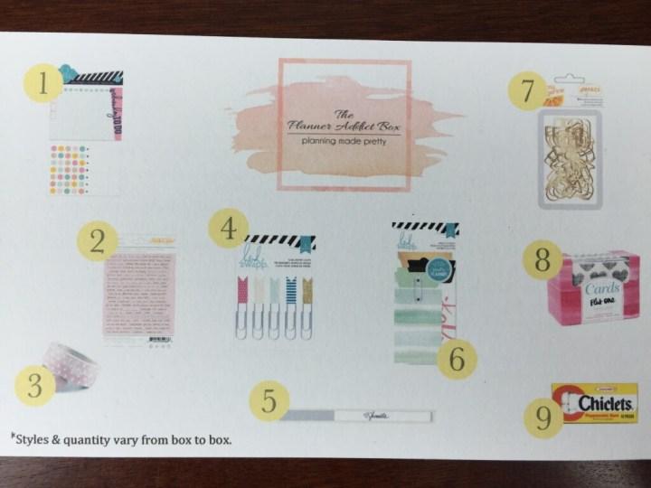planner addict box august 2015 item card