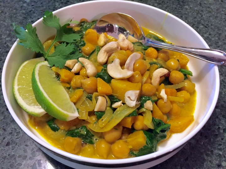 Butternut Squash Curry with Chickpeas, Spinach, and Cashews