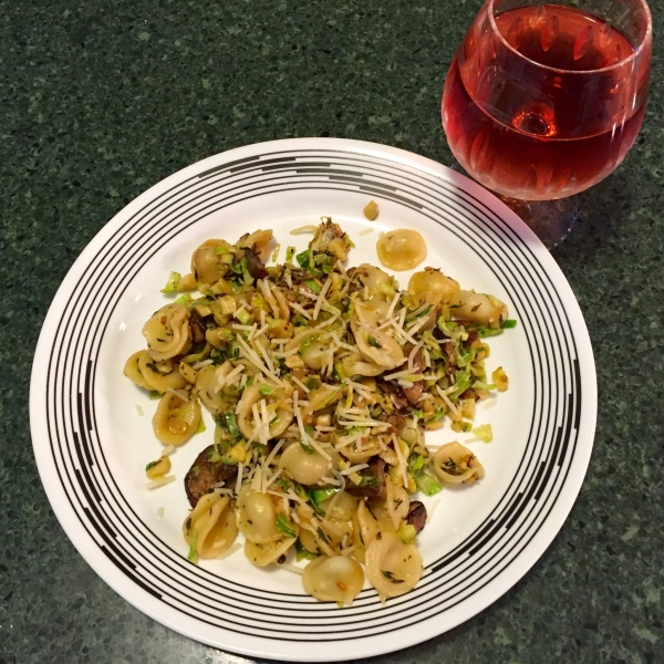 Creamy Orecchiette with Brussels Sprouts and Wild Mushrooms