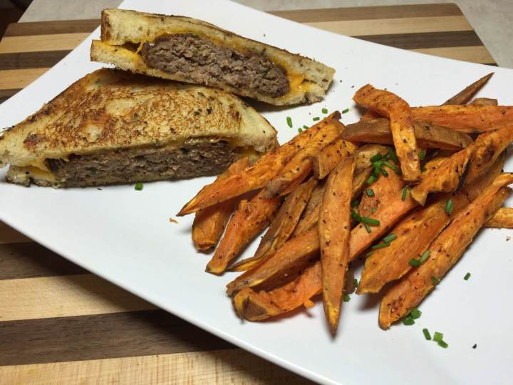 Patty Melts with Baked Sweet Potato Fries