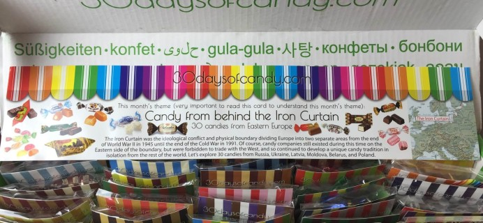 """30 Days of Candy Subscription Box Review + Coupon – September 2015 """"Candy from behind the Iron Curtain"""""""
