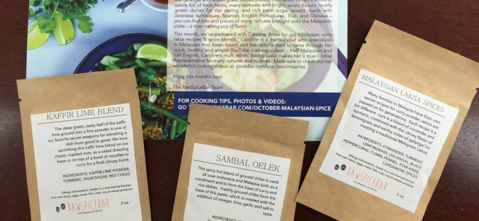 October 2015 RawSpiceBar Spice Subscription Review & Coupon