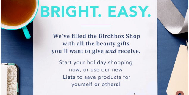 Birchbox Holiday Shop Open Now! + Coupons