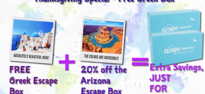 Escape Monthly Deal – Free Greece Box + 20% Off for Life! + November 2015 Spoilers