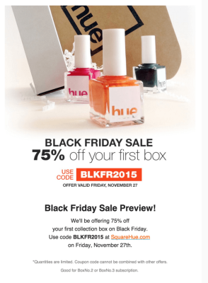 Square Hue Black Friday Deal – 75% Off First Box