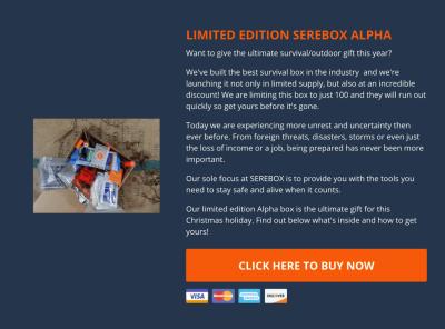 Limited EditionSerebox Alpha Survivalist Outdoor Black Friday Deal: 50% Off!