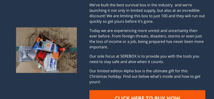 Limited Edition Serebox Alpha Survivalist Outdoor Black Friday Deal: 50% Off!