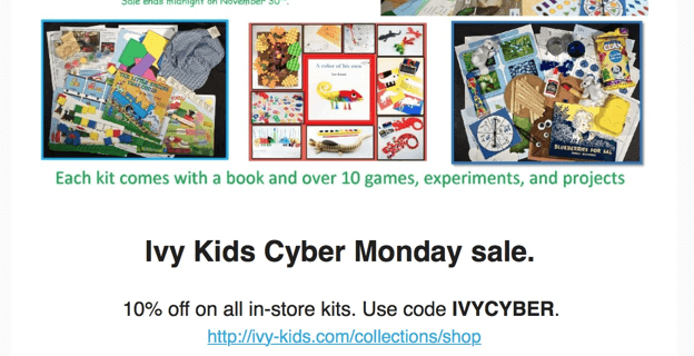 Ivy Kids Cyber Monday Sale: 10% Off All In-Store Kits!