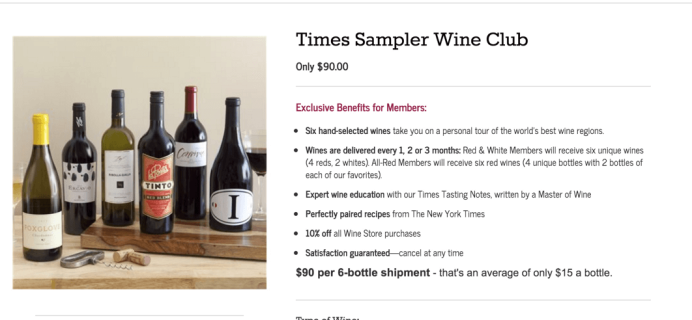 New York Times Wine Club Cyber Monday Deal: 6 Wines $60 Shipped