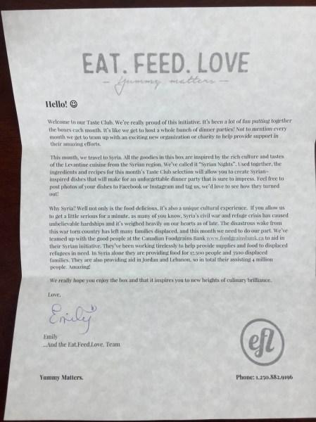 Eat Feed Love Taste Club December 2015 letter