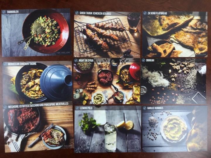Eat Feed Love Taste Club December 2015 recipe cards