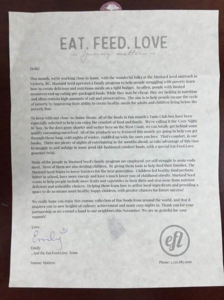 Eat Feed Love Taste Club November 2015 letter