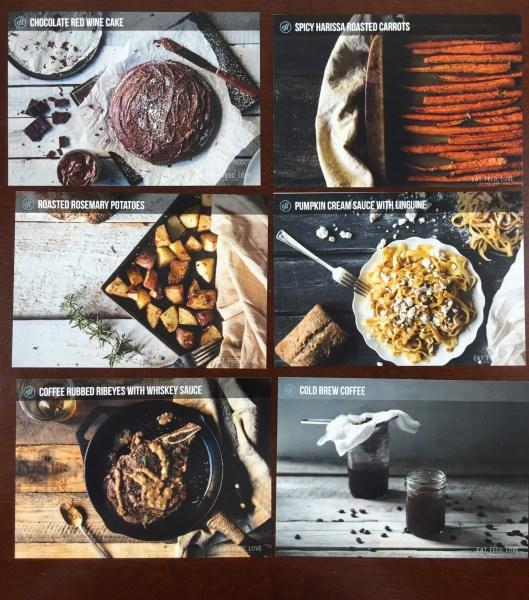 Eat Feed Love Taste Club November 2015 recipe cards