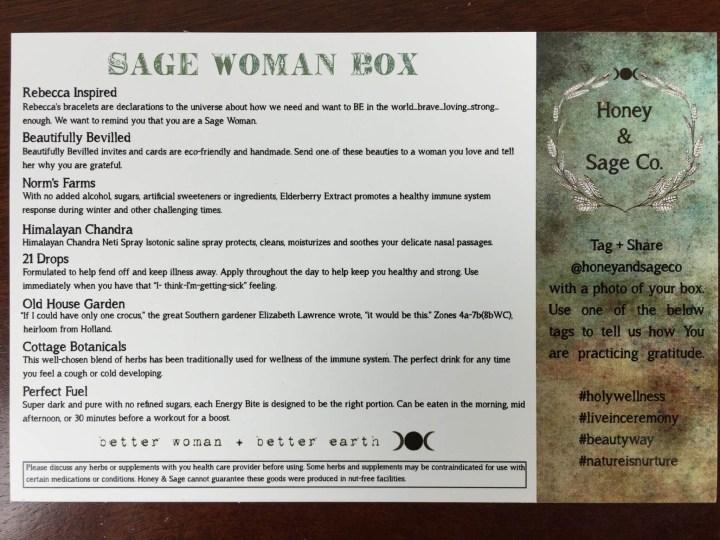 Honey & Sage November 2015 Sage Woman Box IMG_3646