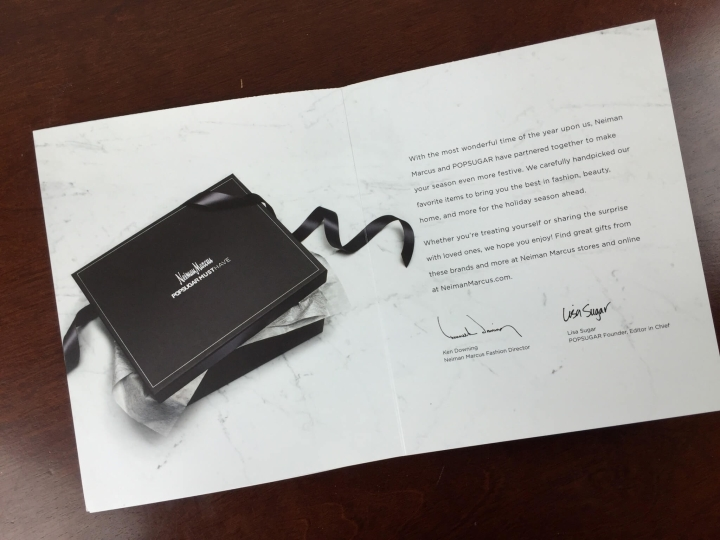 Neiman Marcus POPSUGAR Must Have 2015 Special Edition information card unfolded