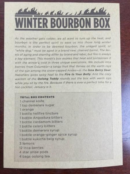 Shaker & Spoon Winter Bourbon Box December 2015 information card