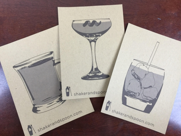 Shaker & Spoon Winter Bourbon Box December 2015 suggested glassware