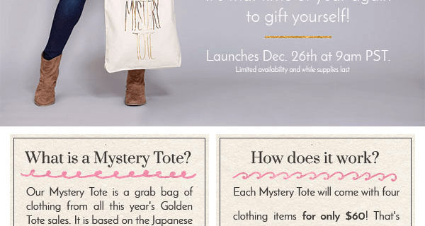 Reminder – Golden Tote Mystery Tote Launches at Noon EST!