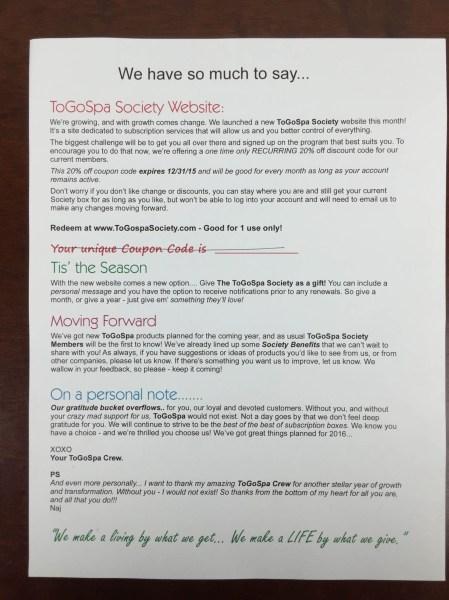 togospa society december 2015 letter