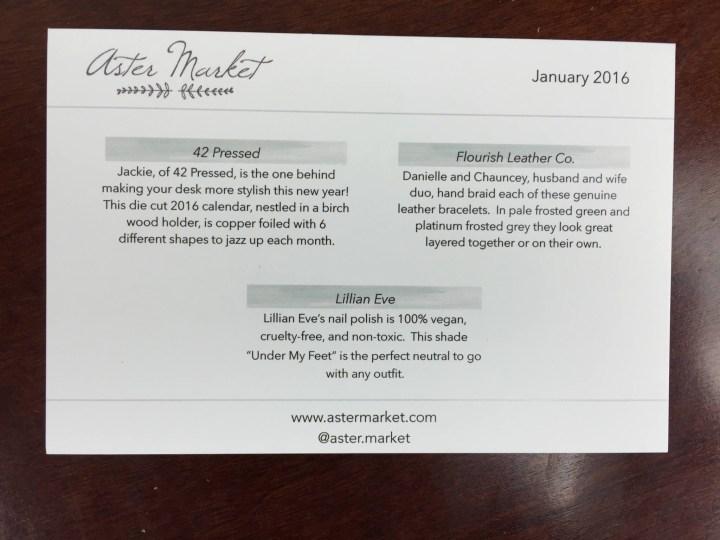 aster market january 2016 information