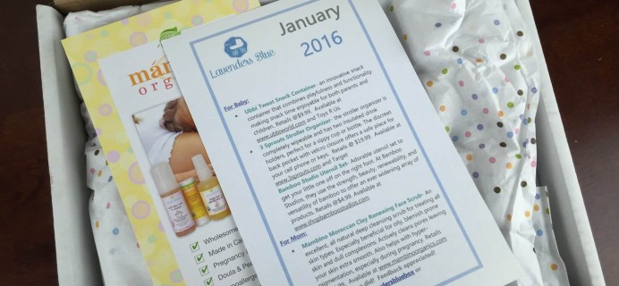 Lavenders Blue Baby & Mom Subscription Box Review – January 2016