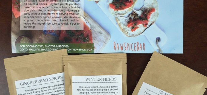 December 2015 RawSpiceBar Spice Subscription Review & Coupon