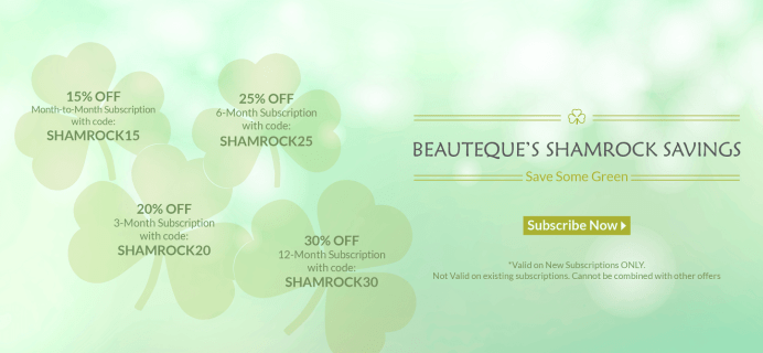 Beauteque 30% Off Coupons – Shamrock Sale on Subscriptions!