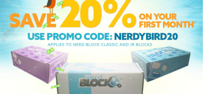 20% Off First Nerd Block, or Junior Blocks Coupon!