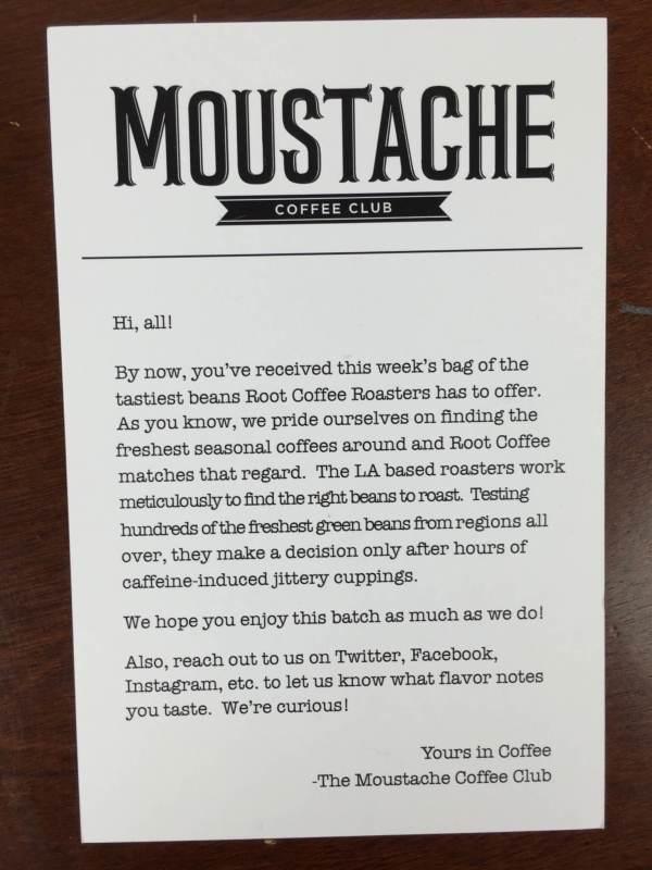 Moustache Coffee Club Box April 2016 (2)