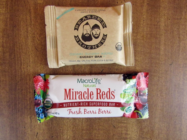 Bearded Brothers Coconut mango Energy Bar and MacroLife Naturals Miracle Reds Bar