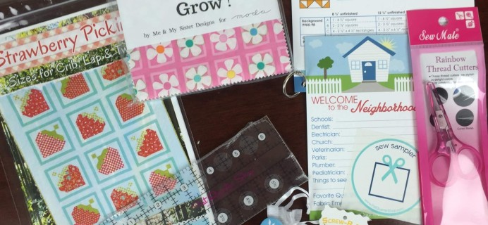 Sew Sampler April 2016 Monthly Box Subscription Box Review