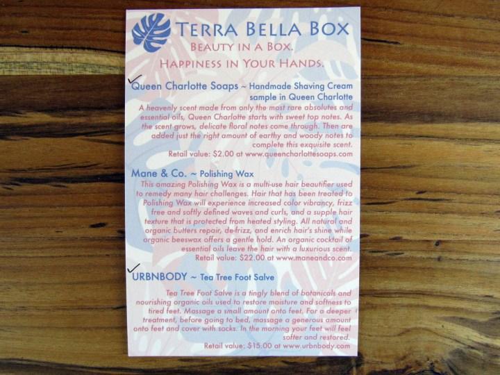 April Information Card - Back