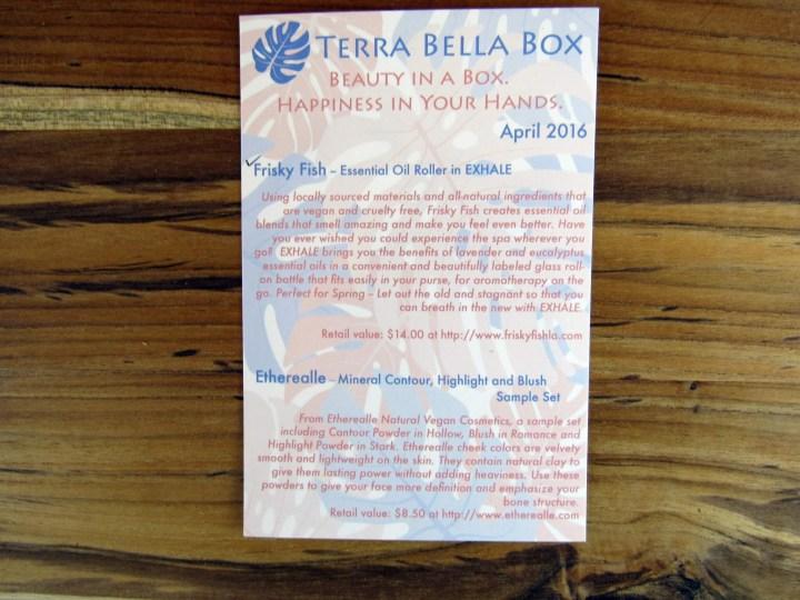 April Information Card - Front