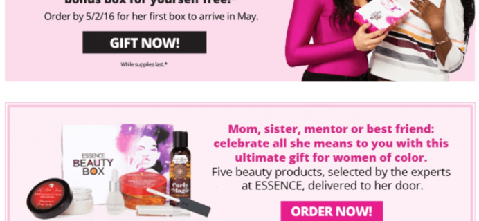 Essence Beauty Box Mother's Day Deal: Free Bonus Box with Gift Subscription!