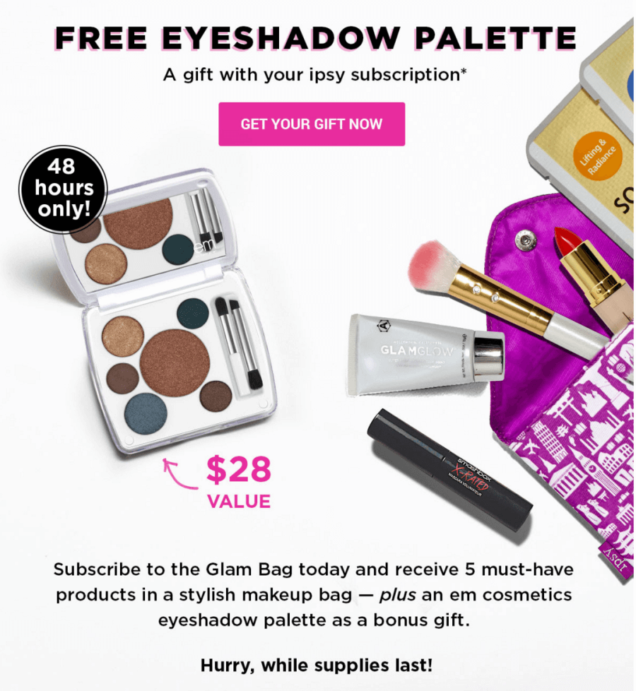 Free Eyeshadow Palette with Ipsy Subscription - 48 Hours Only ...