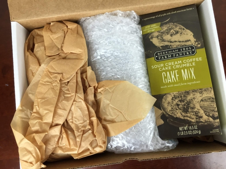 Beekman 1802 Specialty Food Club Box May 2016 unboxed